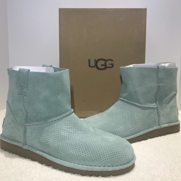 62be0be4afe UGG Classic Unlined Mini Perf Boots AloeVera Teal NWT